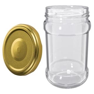Słoje zakręcane szklane, słoiki - fi 66 - 315 ml + zakrętki złote - 12 szt.