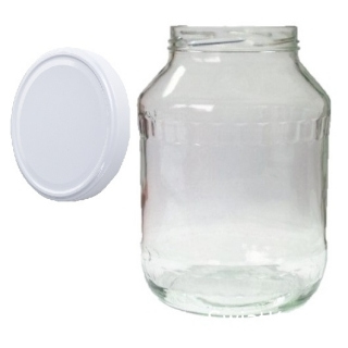 Słoje zakręcane szklane, słoiki - fi 100 - 2,65 l + zakrętka biała - 4 szt.