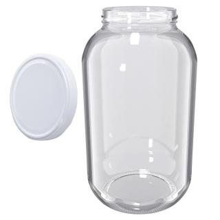 Słoje zakręcane szklane, słoiki - fi 100 - 4,25 l + zakrętka biała - 4 szt.