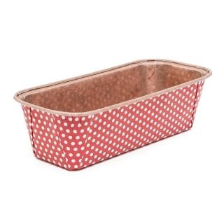 Foremka papierowa do pieczenia Plumpy - prostokątna - 15,8 x 5,5 x 5,2 cm - czerwona w kropki - 6 szt.