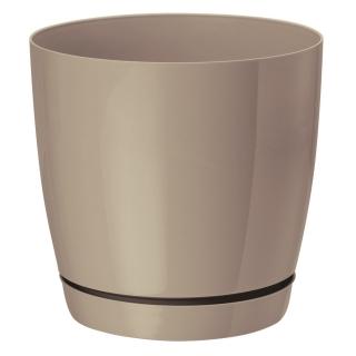 Doniczka okrągła + podstawka Toscana - 11 cm - beżowa (cafe latte)