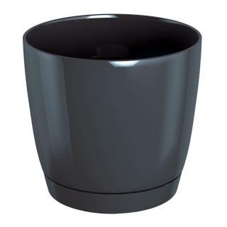 Doniczka okrągła + podstawka Coubi - 10 cm - grafit
