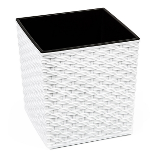 Doniczka kwadratowa Juka - 25 cm - rattan biała