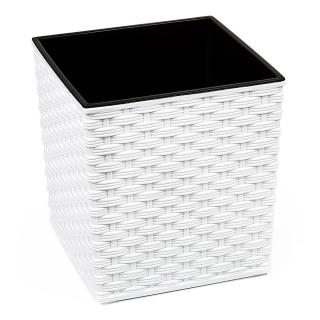 Doniczka kwadratowa Juka - 30 cm - rattan biała