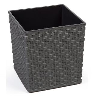 Doniczka kwadratowa Juka - 25 cm - rattan grafit metalik