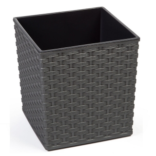 Doniczka kwadratowa Juka - 19 cm - rattan grafit metalik