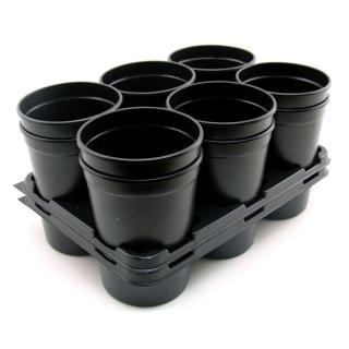 Doniczki okrągłe + taca 12 szt czarne