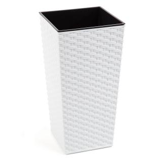 Doniczka kwadratowa wysoka Finezja + wkład - 19 cm - rattan biała