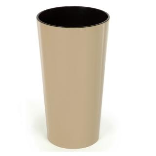 Doniczka okrągła wysoka Lilia - 14 cm - cappuccino