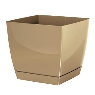 Doniczka kwadratowa + podstawka Coubi - 10 cm - kawa z mlekiem