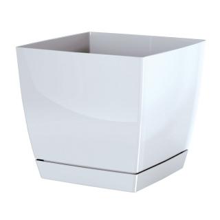 Doniczka kwadratowa + podstawka Coubi - 10 cm - biała