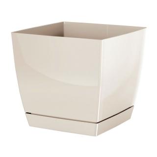 Doniczka kwadratowa + podstawka Coubi - 12 cm - kremowa
