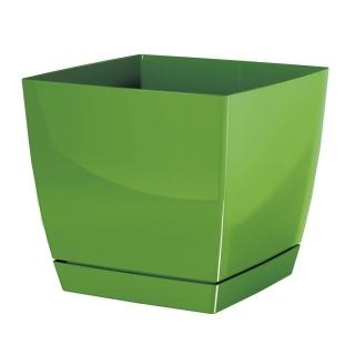 Doniczka kwadratowa + podstawka Coubi - 10 cm - oliwka