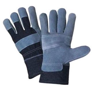Rękawice dżinsowe wzmacniane skórą bydlęcą - z podszewką wewnętrzną