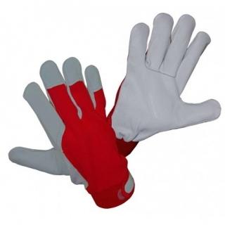 Rękawice skórzane z grzbietem z bawełnianego dżerseju - rozmiar 8 - szaro-niebieskie