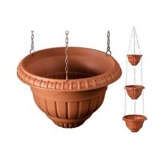 Trzypoziomowe doniczki wiszące - Roma - 20 + 25 + 30 cm - terakota
