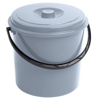 Wiadro okrągłe z pokrywką - 12 litrów - szary