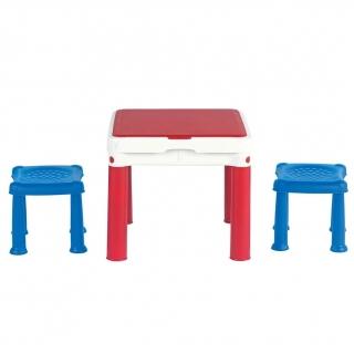 Stolik edukacyjny z taborecikami, na klocki Constructable - niebiesko-czerwono-biały
