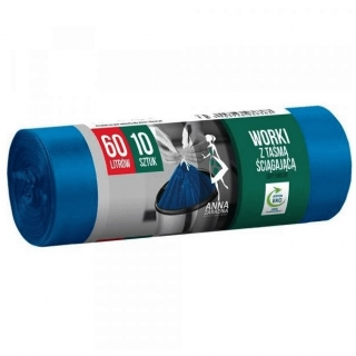 Worki na śmieci z taśmą ściągającą - niebieskie - SUPERMOCNE - 60 litrów - 10 szt. - LDPE