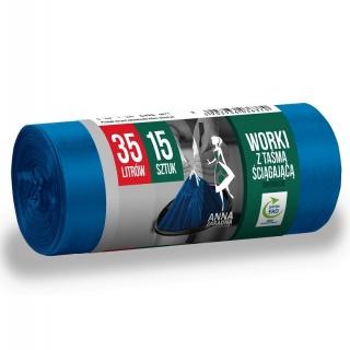 Worki na śmieci z taśmą ściągającą - niebieskie - SUPERMOCNE - 35 litrów - 15 szt. - LDPE