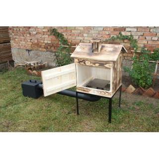 Wędzarnia ogrodowa drewniana - 50 x 50 x 50 cm - opalana - ZESTAW