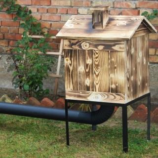 Wędzarnia ogrodowa drewniana - 50 x 50 x 60 cm - opalana - bez paleniska - ZESTAW
