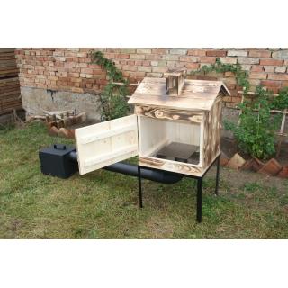 Wędzarnia ogrodowa drewniana - 50 x 50 x 60 cm - opalana - ZESTAW