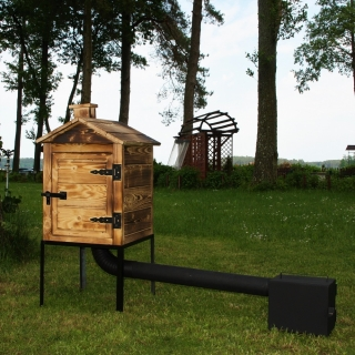 Wędzarnia ogrodowa drewniana Plus - 50 x 50 x 60 cm - opalana - ZESTAW