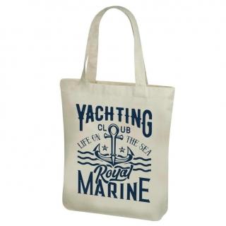 Torba bawełniana na zakupy z długimi rączkami - 38 x 41 cm - Wzór morski, Yachting club