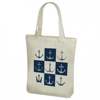 Torba bawełniana na zakupy z długimi rączkami - 38 x 41 cm - Wzór morski, Małe kotwice