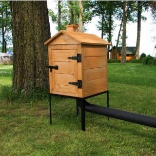 Wędzarnia ogrodowa drewniana Plus - 50 x 50 x 60 cm - surowa - bez paleniska - ZESTAW