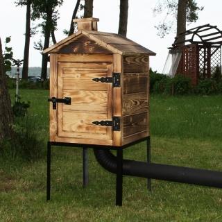 Wędzarnia ogrodowa drewniana Plus - 50 x 50 x 60 cm - opalana - bez paleniska - ZESTAW