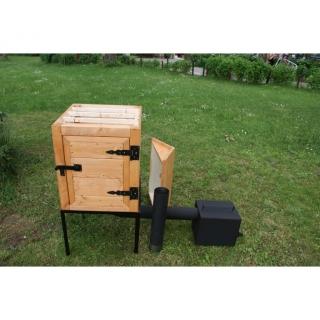Wędzarnia ogrodowa drewniana Plus - 50 x 50 x 60 cm - surowa - ZESTAW