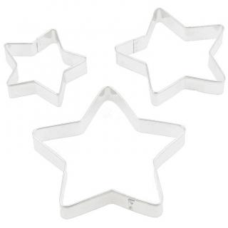 Komplet trzech wykrawaczek do ciastek, foremek różnych wielkości - gwiazdki