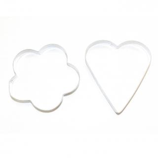 Komplet dwóch wykrawaczek do ciastek, foremek dużych - kwiatek + serce