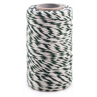 Sznurek bawełniany - biało-zielony - 100g/90m