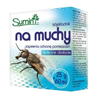 Trójskładnikowy preparat na muchy - zapewnia ochronę pomieszczeń - Sumin - 25 g + 60 ml