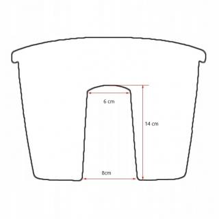 Lekka doniczka do montowania na balustradzie Lofly - 24,5 cm - kamienny szary