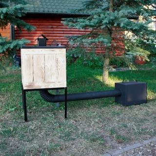 Wędzarnia ogrodowa drewniana z metalowym dachem - 50 x 50 x 50 cm - opalana