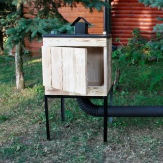Wędzarnia ogrodowa drewniana z metalowym dachem - 50 x 50 x 60 cm - opalana - bez paleniska