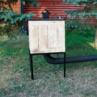 Wędzarnia ogrodowa drewniana z metalowym dachem - 50 x 50 x 50 cm - opalana - bez paleniska