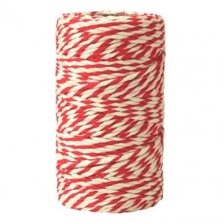 Sznurek bawełniany - biało-czerwony - 100g/70m