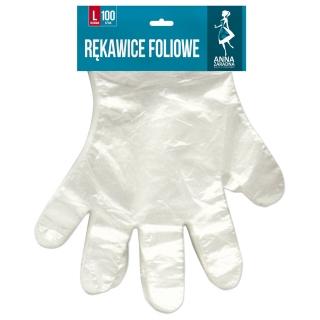 Rękawice foliowe rozmiar L na blistrze - 100 szt.