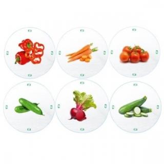 Słoiki zakręcane szklane na przetwory z warzyw - fi 82 - 250 ml z zakrętkami warzywa na białym tle - 8 szt.