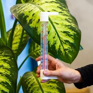 Termometr zewnętrzny biały z transparentną skalą - 230 x 26 mm