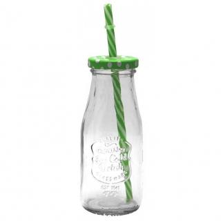 Kubek - Butelka ze słomką i zakrętką  - 300 ml