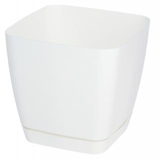 Doniczka kwadratowa + podstawka Toscana - 11 cm - biała