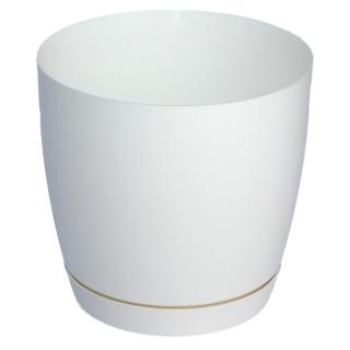 Doniczka okrągła + podstawka Toscana - 11 cm - biała